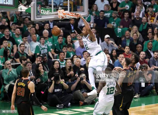 Boston Celtics Al Horford makes a slam dunk on the Cleveland Cavaliers during fourth quarter action The Boston Celtics hosted the Cleveland Cavaliers...