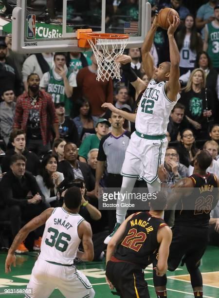Boston Celtics Al Horford scores a slam dunks on Cleveland Cavaliers during fourth quarter action The Boston Celtics hosted the Cleveland Cavaliers...