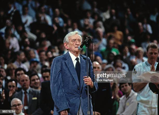 Boston Celtics broadcaster Johnny Most is honorored during a game played in 1991 at the Boston Garden in Boston Massachusetts NOTE TO USER User...