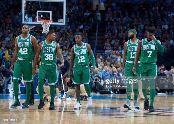Boston Celtics Center Al Horford Boston Celtics Guard Marcus Smart Boston Celtics Guard Terry Rozier Boston Celtics Forward Marcus Morris Boston...