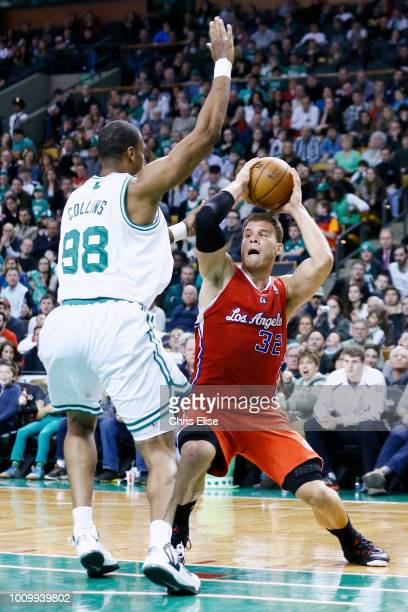 Boston Celtics center Jason Collins defends on Los Angeles Clippers power forward Blake Griffin during the Boston Celtics 106-104 victory over the...