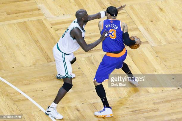 Boston Celtics center Kevin Garnett defends on New York Knicks power forward Kenyon Martin during Game Three of the Eastern Conference Quarterfinals...