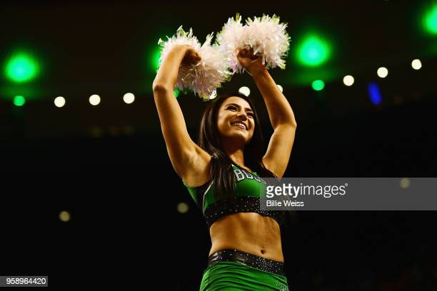 Boston Celtics cheerleader performs before Game Two of the 2018 NBA Eastern Conference Finals between the Cleveland Cavaliers and the Boston Celtics...