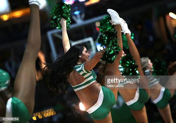 Boston Celtics cheerleaders perform at the start of the game against the Charlotte Hornets at TD Garden on April 11 2016 in Boston Massachusetts NOTE...