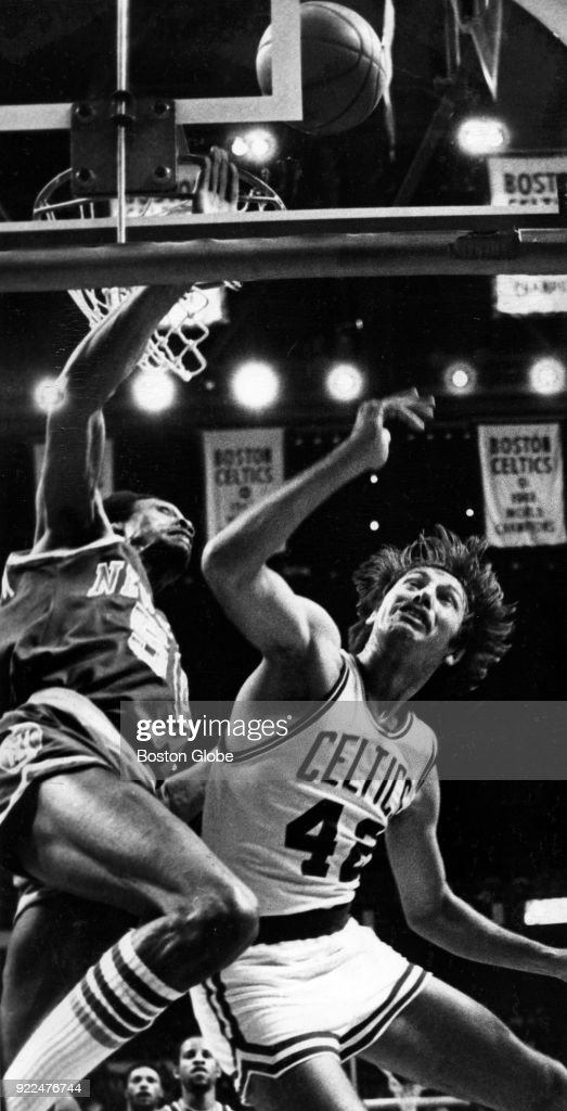 Boston Celtics Chris Ford, right, attempts to block New York Knicks Joe Meriweather, left, during a game at the Boston Garden, Feb. 11, 1979.
