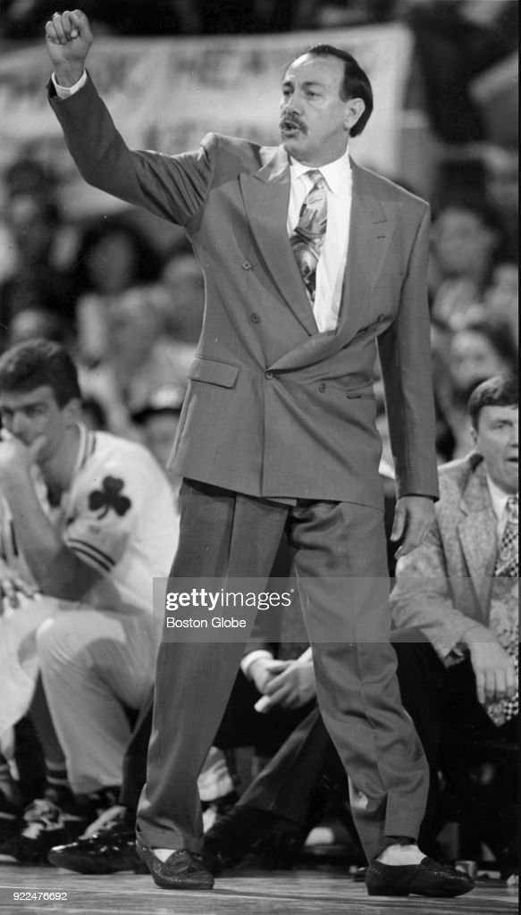 Boston Celtics coach Chris Ford reacts during a game against the Cleveland Cavaliers at the Boston Garden, May 15, 1992.