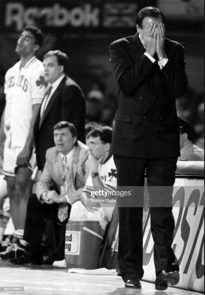 Boston Celtics coach Chris Ford reacts during a game against the Portland Trail Blazers at the Boston Garden, March 15, 1992. Photo by Bill Brett/The Boston Globe via Getty Images)