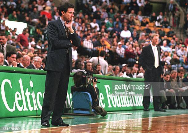 Boston Celtics' coach Rick Pitino left was beaten by Larry Bird right and his Indiana Pacers at the FleetCenter