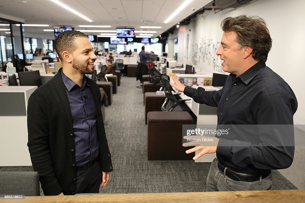 Boston Celtics co-owner Wyc Grousbeck, right, talks with Boston