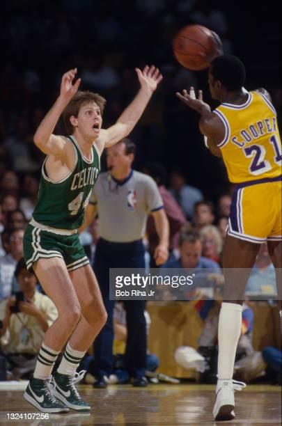 Boston Celtics Danny Ainge defends again Los Angeles Lakers Michael Cooper during 1985 NBA Finals between Los Angeles Lakers and Boston Celtics, June...
