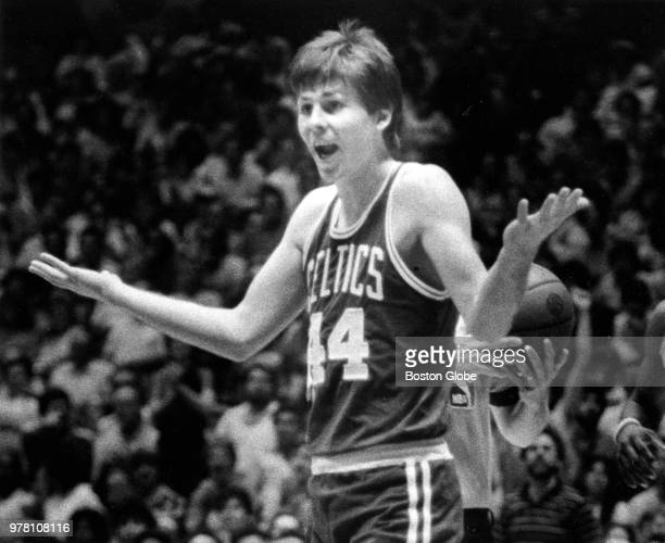 Boston Celtics' Danny Ainge reacts to getting a technical foul during Game Four of the second round of the 1982 NBA playoffs between the Boston...