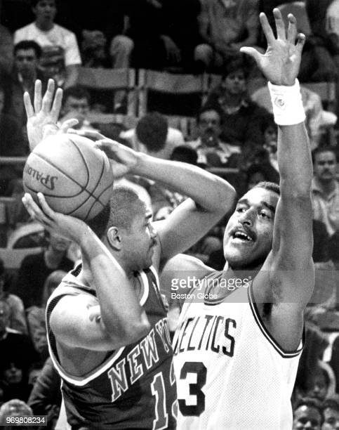 Boston Celtics' Dennis Johnson guards New York's Mark Jackson The Boston Celtics host the New York Knicks in the opening game of their 1988 season at...