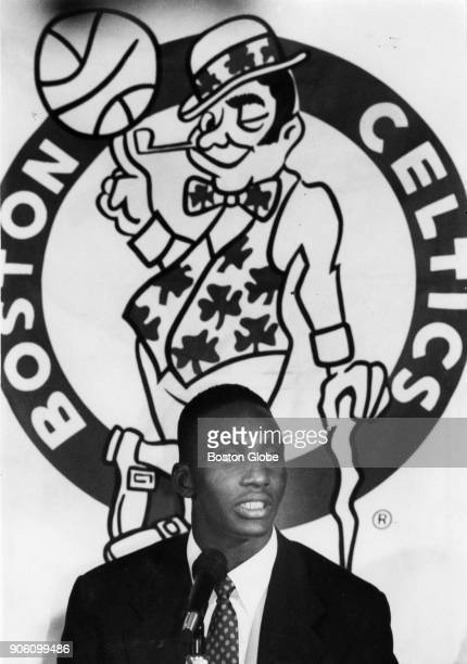 Boston Celtics draft pick Dee Brown speaks to reporters at the Boston Garden June 28 1990
