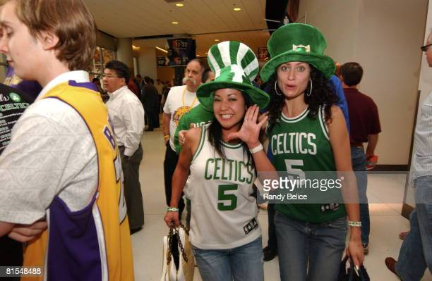 Boston Celtic's fans cheers during Game Four of the 2008 NBA Finals on June 12 2008 at the Staples Center in Los Angeles California NOTE TO USERUser...