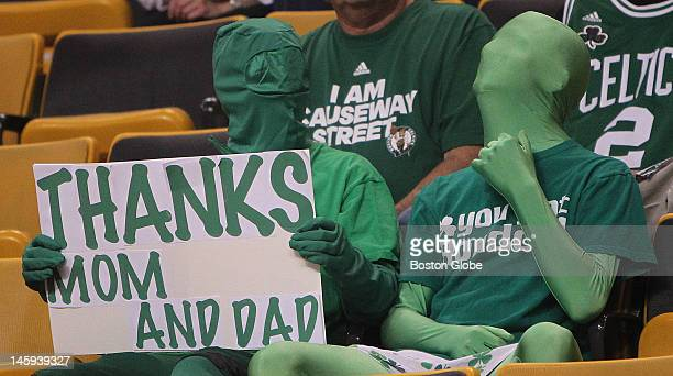 Boston Celtics fans in their seats before the start of the game Boston Celtics NBA basketball action and reaction The Celtics play the Miami Heat in...