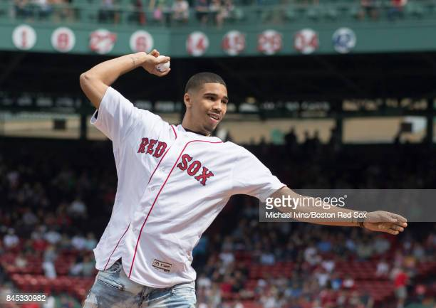 Boston Celtics first round draft pick Jason Tatum throws out a ceremonial first pitch before a game between the Boston Red Sox and the Tampa Bay Rays...