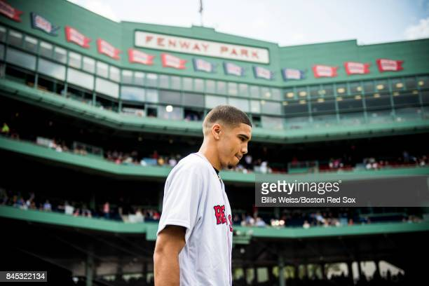 Boston Celtics first round draft pick Jayson Tatum is introduced before throwing out the ceremonial first pitch before a game between the Boston Red...