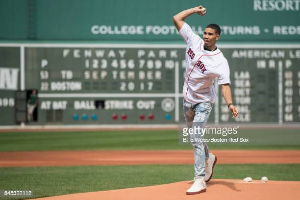 Boston Celtics first round draft pick Jayson Tatum throws out the ceremonial first pitch before a game between the Boston Red Sox and the Tampa Bay...