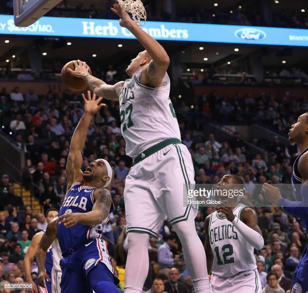 Boston Celtics forward Daniel Theis blocks a shot attempt by Philadelphia 76ers guard Jerryd Bayless during the second quarter The Boston Celtics...