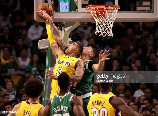 Boston Celtics forward Daniel Theis blocks the shot of Los Angeles Lakers forward Kyle Kuzma during the second quarter The Boston Celtics host the...