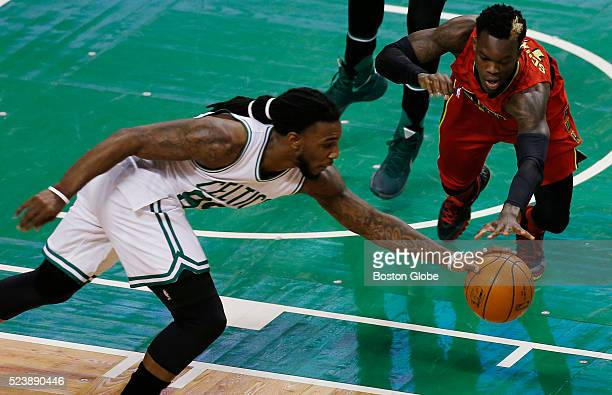 Boston Celtics forward Jae Crowder steals the ball away from Atlanta Hawks guard Dennis Schroder during the first quarter of Game 4 of the first...
