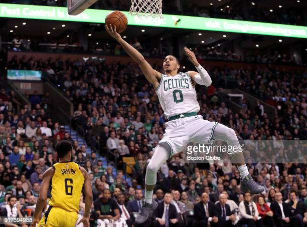 Boston Celtics forward Jayson Tatum puts up a layup off the fast break late in the second quarter The Boston Celtics host the Indiana Pacers at TD...