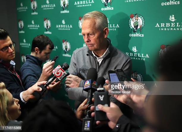 Boston Celtics general manager Danny Ainge listens to a reporter's question during an open practice at TD Garden in Boston on Oct. 5, 2019.