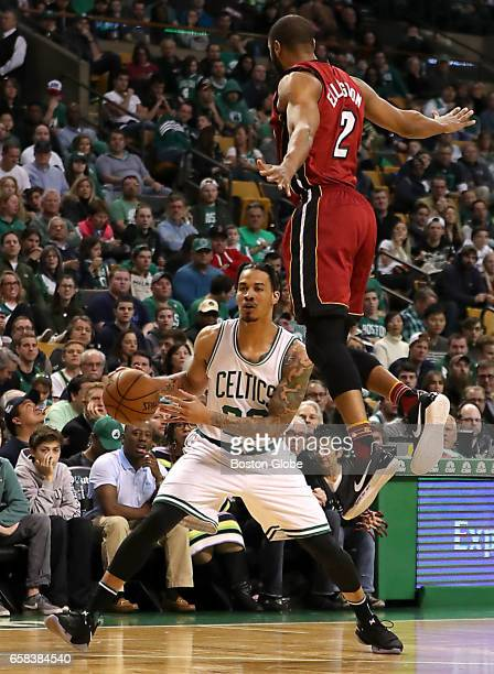 610fabfd927 Boston Celtics  Gerald Green pump fakes Miami Heat s Wayne Ellington...  News Photo - Getty Images