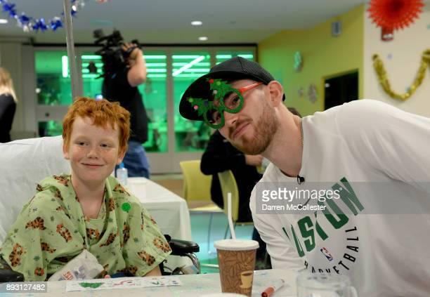 Boston Celtics Gordon Hayward visits with Tyson at Boston Children's Hospital December 14 2017 in Boston Massachusetts