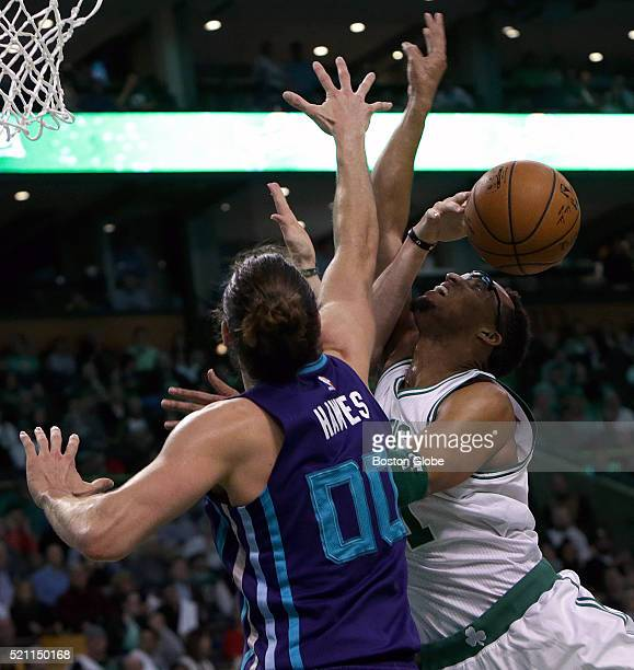Boston Celtics guard Evan Turner loses the ball as he tries to go up for a layup during the second quarter The Boston Celtics take on the Charlotte...