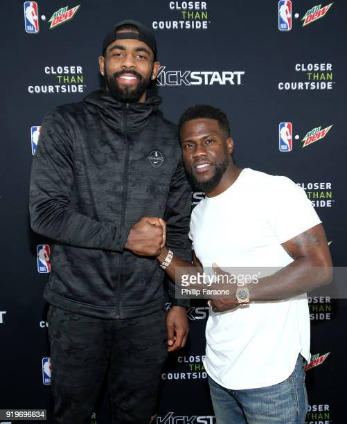Boston Celtics guard Kyrie Irving and Kevin Hart attend Mtn Dew Kickstart Courtside Studios at NBA AllStar 2018 in Los Angeles Saturday February 17...