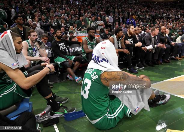 Boston Celtics guard Kyrie Irving Boston Celtics forward Jayson Tatum Boston Celtics forward Gordon Hayward and Boston Celtics forward Marcus Morris...