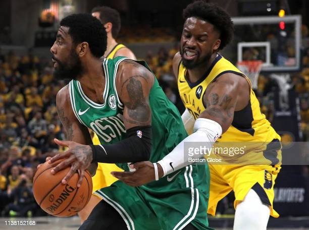 Boston Celtics guard Kyrie Irving drives around Indiana Pacers guard Wesley Matthews during the first quarter The Indiana Pacers host the Boston...