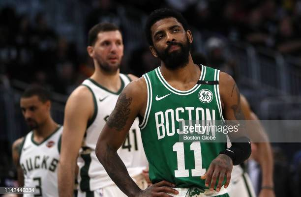 Boston Celtics guard Kyrie Irving looks off during the third quarter The Milwaukee Bucks host the Boston Celtics in Game 5 of the Eastern Conference...