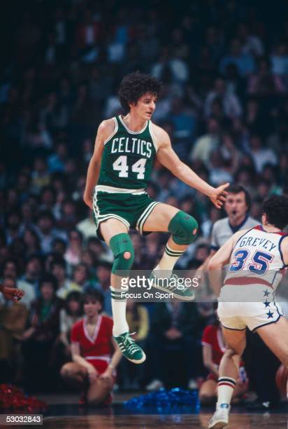 Boston Celtics' guard Pete Maravich jumps on the court during a game against the Washington Bullets at Capital Center circa 1980 in Washington DC...