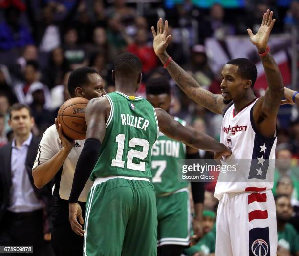 Boston Celtics guard Terry Rozier and Washington Wizards guard Brandon Jennings get into a shoving match during the fourth quarter The Washington...