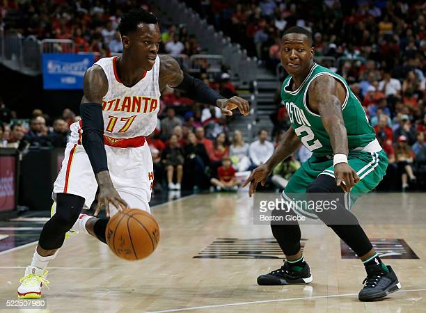 Boston Celtics guard Terry Rozier guards Atlanta Hawks guard Dennis Schroder during the first half of Game 2 in the first round of the NBA Eastern...