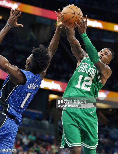 Boston Celtics guard Terry Rozier takes the ball from Orlando Magic forward Jonathan Isaac on Sunday Nov 5 2017 at the Amway Center in Orlando Fla
