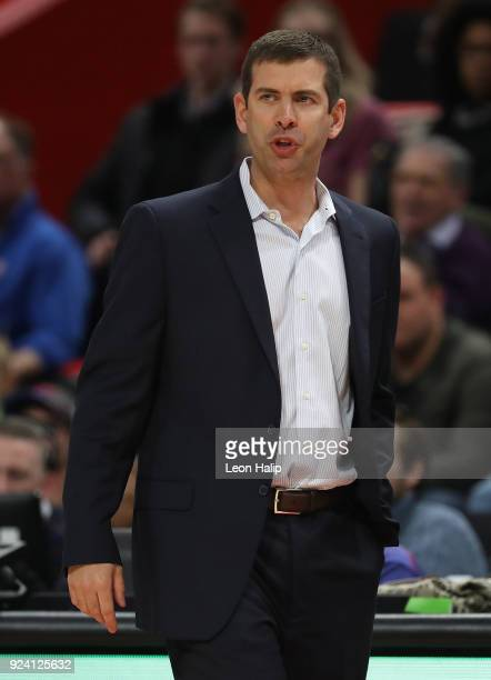 Boston Celtics head basketball coach Brad Stevens watches the action during the second quarter of the game against the Detroit Pistons at Little...