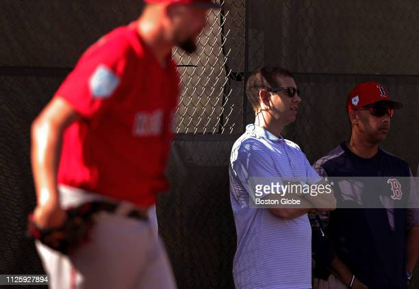 Boston Celtics head coach Brad Stevens center visits with Boston Red Sox manager Alex Cora right during a spring training workout at JetBlue Park in...
