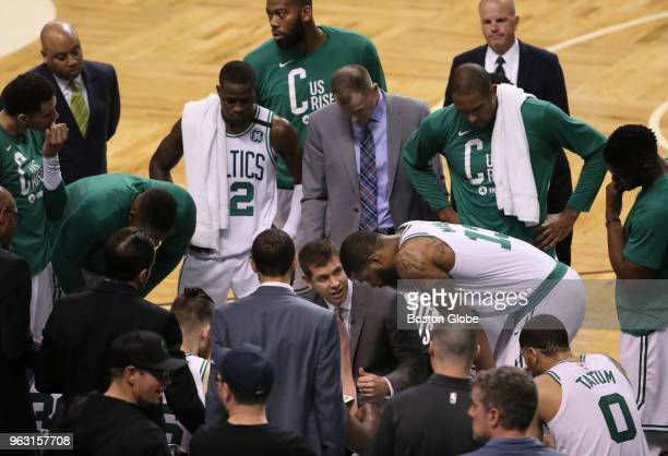 Boston Celtics head coach Brad Stevens during a time out during the third quarter The Boston Celtics hosted the Cleveland Cavaliers for Game Seven of...