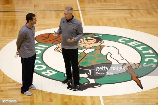 Boston Celtics head coach Brad Stevens, left, chats with Celtics general manager Danny Ainge during Boston Celtics practice in Waltham, MA on April...