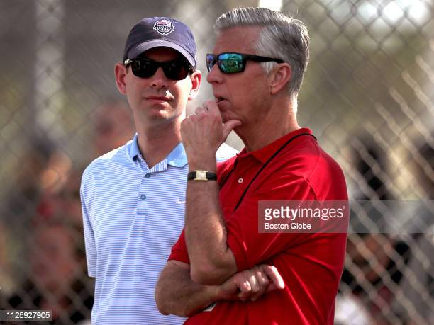 Boston Celtics head coach Brad Stevens left visits with Boston Red Sox President of Baseball Operations Dave Dombrowski during a spring training...