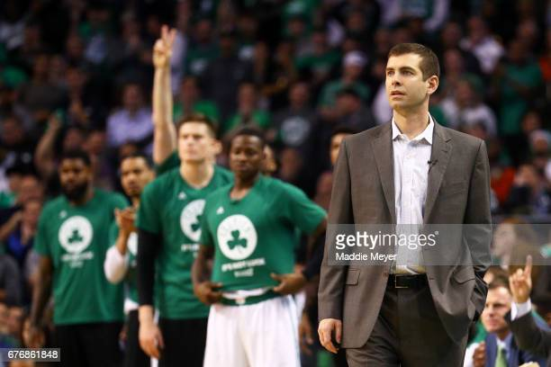 Boston Celtics Head Coach Brad Stevens looks on during overtime of the Celtics 129119 win over the Washington Wizards in Game Two of the Eastern...