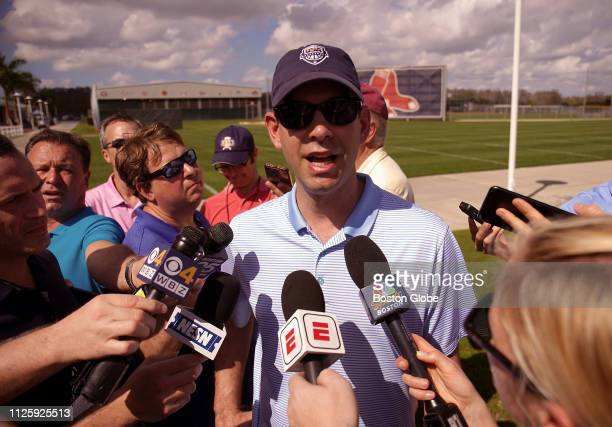 Boston Celtics head coach Brad Stevens talks to the media during a visit to Boston Red Sox spring training at JetBlue Park in Fort Myers FL on Feb 17...