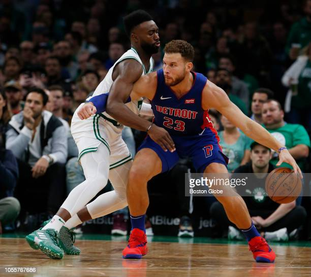 Boston Celtics' Jaylen Brown guards the Pistons' Blake Griffin during the second quarter The Boston Celtics host the Detroit Pistons in a regular...