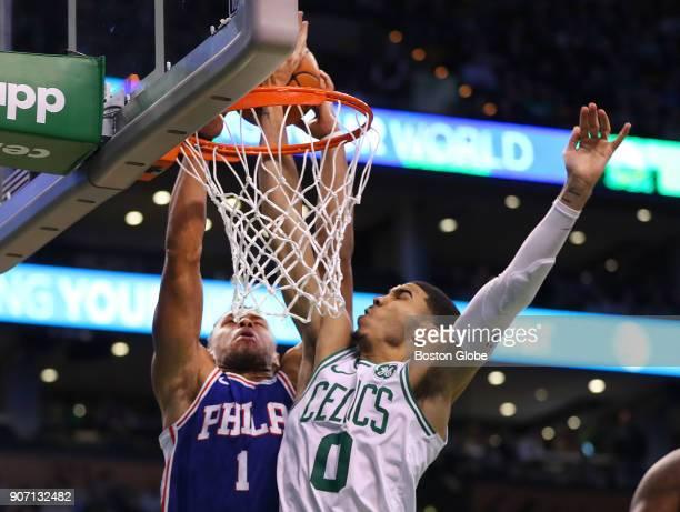 Boston Celtics' Jayson Tatum blocks a second quarter layup by 76ers' Justin Anderson The Boston Celtics host the Philadelphia 76ers in a regular...
