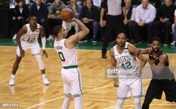 Boston Celtics Jayson Tatum scores a basket during the first half The Boston Celtics hosted the Cleveland Cavaliers for Game Seven of their NBA...
