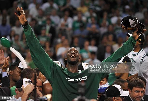 Boston Celtics' Kevin Garnett celebrates after winning after winning Game 6 of the 2008 NBA Finals in Boston Massachusetts June 17 2008 The Boston...