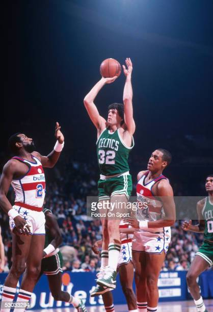 Boston Celtics' Kevin McHale makes a jumpshot against the Washington Bullets during a game at Capital Centre circa 1982 in Washington, D.C.. NOTE TO...